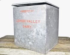 Vintage Antique Lehigh Valley Dairy galvanized by upscaleyardsale, $50.00. I remember milk being delivered in one of these. Bring's back memories of being told I was the milkman's.