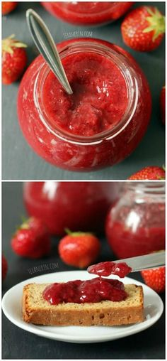 This strawberry jam is honey sweetened and pectin free! You only need 1/4 cup honey for 2 pounds of berries, which means this jam is bursting with strawberry flavor (rather than sugar!)