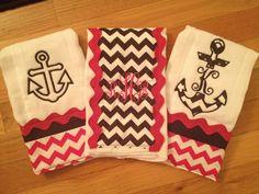 Anchor theme baby girl burp cloths  LOVE!!