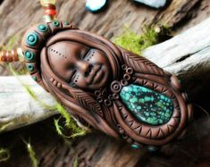 Turquoise Goddess Pendant with Blue Apatite by TRaewynJewelry
