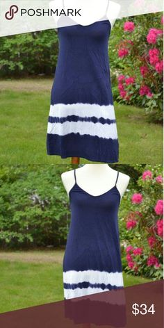 NWT Retail!!! LAST ONE! Navy Dress Soft everyday dress or Beach cover-up. Spaghetti straps. Dresses Mini