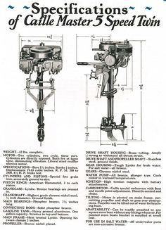 1926 - 27 Caille Master 5-Speed Twin Motor Information