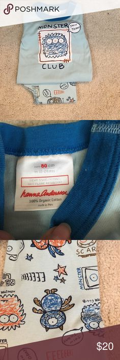 Hannah Andersson Organic Monster Club PJs 80cm Hannah Andersson Organic Cotton Monster Club PJs in Blue, Excellent Condition, no flaws. 18-24mo. Hanna Andersson Pajamas Pajama Sets