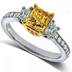 Fancy Yellow Diamond Engagement Ring Radiant 2.01 Ct 18k White Yellow Certified via Etsy