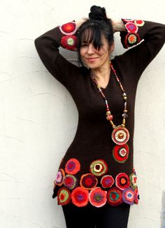 M Colorful crazy appliqued recycled sweater tunic by jamfashion