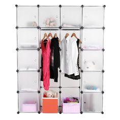 Cute Songmics DIY Plastic Wardrobe Cupboard Clothes Hanging Rail Storage Shelves cabinet X X