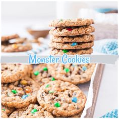 Monster cookies are oatmeal, chocolate chip, peanut butter cookie that is crispy, chewy, and sweet (as every cookie should be!). It has been said that the original creators of the recipe called it a Frankenstein's monster mashup of the cookie world (I mean, there's no flour yet it still works!). This means there are a lot of different components of cookie recipes all combined into this glorious cookie. via @Mooreorlesscook Baking Recipes, Cookie Recipes, Sugar Cookies Recipe, Best Dessert Recipes, Easy Desserts, Mini Chocolate Chips, Chocolate Desserts, Cookies From Scratch, Single Serving Recipes