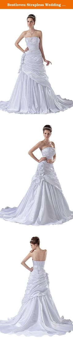 Bestloveu Strapless Wedding Dresses Bridal Gowns (20, White). Bestloveu New Wedding dresses Bridal gowns , In Stock size have 6,8,10,12,14,16,18 ,20,22,24,26 Dress closure back lace-up ,. our stock dresses size chart is : size 6 / XS (bust:82cm , waist:63cm , hips:87cm) , size 8 / S (bust:87cm , waist:68cm , hips:92cm) , size 10 / M (bust:92cm , waist:73cm , hips:97cm) , size 12 / L (bust:97cm , waist:78cm , hips:102cm) , size 14 / XL (bust:102cm, waist:83cm , hips:107cm) , size 16 / XXL...