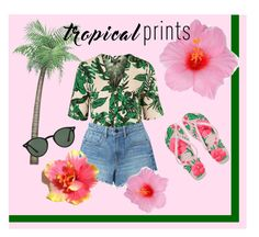 """""""Tropical"""" by lulu1507 ❤ liked on Polyvore featuring Havaianas, Topshop, Alexander Wang, Ray-Ban, Flowers, beach, sunglasses, tropicalprints and hottropics"""