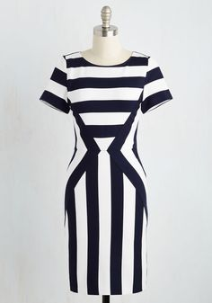 A change of career location also prompts your style to move in a bolder direction, proven by this knit sheath dress. Perfect for office days and city nights with its navy and white stripes intersected by a bright crimson zipper, this profesh number is a chic testament to your lively new lifestyle!