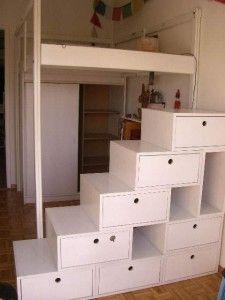 Lit mezzanine design bi couleur taupe blanc escalier cube avec sa banquette - Escalier rangement mezzanine ...