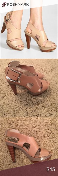 Michael Kors Size 6 tan heels In excellent condition, only worn a few times! Size 6 Michael Kors heels in a beautiful nude/tan color. Michael Kors Shoes Heels