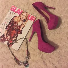 Jessica Simpson magenta pumps one-inch platform and 4.5-inch heel creates devastating curves kept perfectly classy by the timeless silhouette. The result is sexy, sassy and oh-so-noticeable: magenta suede color. Worn few times in great condition. Jessica Simpson Shoes Heels