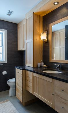 Bathroom Remodel - birch cabinets, silestone countertop, open base, matching framed mirror,