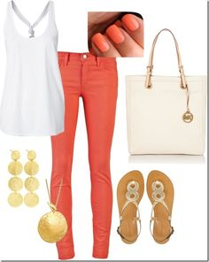 Coral and gold #summer #outfit