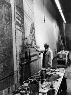 """Scenic Artist at the Metropolitan Opera House Painting Backdrop For """"Aida"""""""
