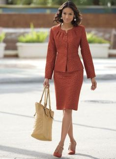 Patterned Suit from Monroe and Main. In muted leopard print, you're the one to watch: sleek as they come, curvaceous from banded neckline and waist to flattering princess seams above and darts below. Business Dresses, Business Outfits, Office Outfits, Work Fashion, Modest Fashion, Skirt Fashion, Suits For Women, Clothes For Women, Skirt Suit Set
