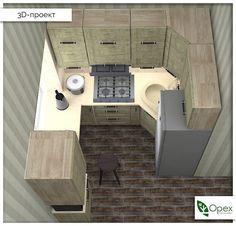 """Сегодня покажем удивительную, очень уютную кухню, которая разместилась на площади всего 5 квадратных метров! А удивительного в ней то, что она - П-образная, вместила в себя большую посудомоечную машину, шкаф-колону и холодильник внушительных размеров. Под зону для готовки удачно задействован подоконник, верхняя часть кухни сделана до потолка, поэтому в ней прекрасно поместилось все необходимое. И - самое главное - хозяева очень любят свою кухню! А мы за уют и компактность назвали ее """"Родные…"""