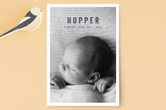 Mini Modern Birth Announcement Petite Cards by Oli... | Minted