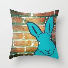 Urban Bunny Throw Pillow by PatternPrincess - $20.00
