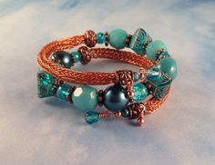 Copper and Turquoise Viking Knit Bangle Bracelet by Suzjewelry