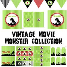 Vintage Movie Monster Full Printable Party Decor for Birthday or Baby Shower DIY Godzilla Inspired Decorations by BeeAndDaisy Godzilla Party, Godzilla Birthday Party, Boy Birthday, Birthday Ideas, Craft Party, Birthday Party Decorations, Theme Parties, Baby Shower Printables, Party Printables