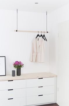 New hanging closet and a little more bedroom Hanging Wardrobe, Hanging Closet, Wardrobe Rack, Ikea Interior, Nordli Ikea, Hanging Rail, Ikea Hack, My Room, House Design