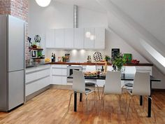 Kitchen Designs, White Style Of The Kitchen 3d Floor Planing Completed With White Kitchen Island And Some White Chairs: Recommended Kitchen Design Online Tool