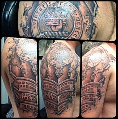 Armor under the skin tattoo with family crest