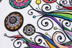close-up of Rainbow Garden embroidery | Flickr - Photo Sharing!