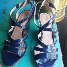 J.Crew navy blue wedges Shiny navy blue, great condition and super comfy! 2 inch heel J. Crew Shoes
