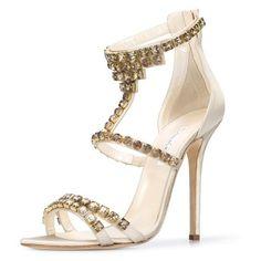 Oscar de la Renta Crystal Simonastrass Sandals found on Polyvore