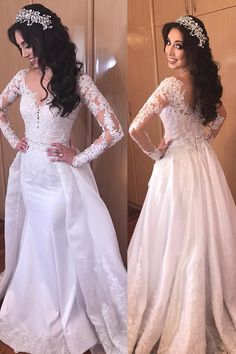 Delicate Tulle & Satin Jewel Neckline 2 In 1 Wedding Dresses With Beaded Lace Appliques & Detachable Train Bridal Gowns 2 In 1 Wedding Dress, Fairy Wedding Dress, Wedding Dress Sleeves, Perfect Wedding Dress, Wedding Gowns, Dresses With Sleeves, Popular Dresses, Beaded Lace, Lace Applique