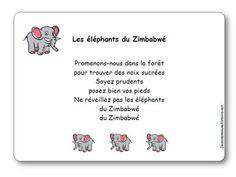 Promenons-nous dans la forêt pour trouver des noix sucrées, Soyez prudents, posez bien vos pieds, Ne réveillez pas les éléphants du Zimbabwé, du Zimbabwé