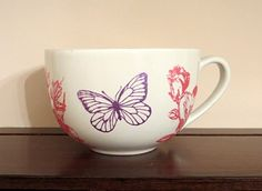 Hand Painted Ceramic Mug with Flowers and by EllensClayCreations, $12.95