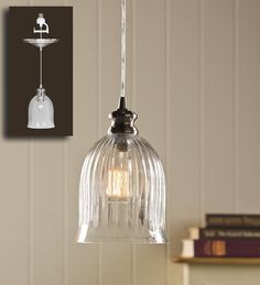 Bell Shaped Ribbed Glass Pendant Light | Lamps & Lighting.  Screw in to replaced recessed lighting