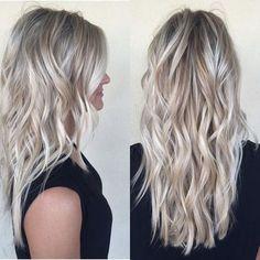 Lange Blonde Haarfarbe Idee (Best Skin Foods) - All For Hair Cutes Ash Blonde Hair, Platinum Blonde, Icy Blonde, Blonde Curls, Ombre Hair, Silver Blonde, Blonde Color, Curls Hair, Brown Hair