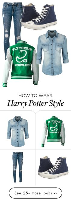 """Slytherin Gurl"" by luna-di-solace on Polyvore featuring Frame Denim, LE3NO and Converse"