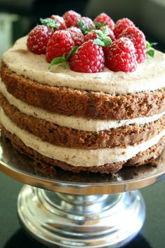 Top with fruit --- Chocolate Mocha Cake with Raspberries