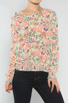 Colorful Floral Blouse #wholesale #fashion #clothing #ootd #wiwt #shopitrightnow #jeans #patterns #prints #dress #pants #trousers #skirts #tops #jeans #jacket #spring #floral #flower