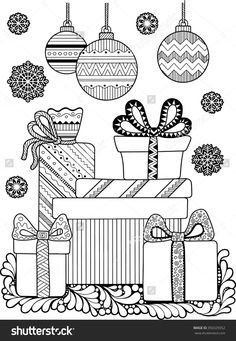 Christmas Coloring page 350329352 : Shutterstock