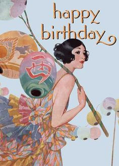 Young Woman & Lanterns - Greeting Card (Bagged with Envelope) | Birthday Greeting Cards