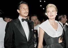 "Oleg Cassini and Grace Kelly at the premiere of Alfred Hitchcock's Rear Window, 1954—two years before she married Prince Rainier. Cassini later said, ""Grace told me she would rather be a princess than a countess."" From Bettmann/Corbis; digital colorization by Lorna Clark."