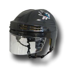 "NHL San Jose Sharks Official Licensed Mini Player Helmets by Sportstar Athletics. $16.25. Sportstar Athletic's authentic scale model mini helmets with eye shield, foam padding, ear loops, and authentic NHL team decals.  Mini Helmet Size: 6"" long x 5"" wide.. Save 37% Off!"
