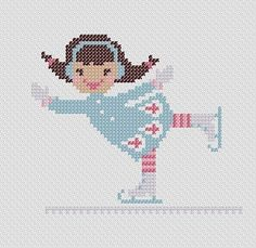 A Little Girl Ice Skating. PDF Cross Stitch Pattern. $4.00, via Etsy.