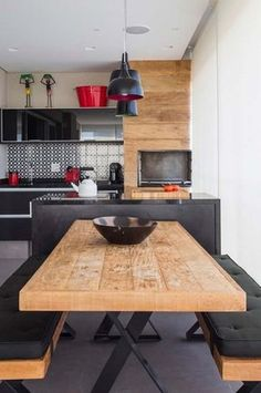 Likes, 12 Comments - Arquitetura e decoração (Demetrius Alves) on Instag. Unique Wood Furniture, How To Clean Furniture, Furniture Plans, Kids Furniture, Kitchen Dinning, Kitchen Decor, Dining, Interior Design Kitchen, Home Kitchens