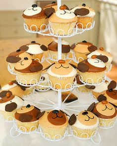 """.:* L - Puppy Face Cupcakesfrom Martha Stewart [""""Puppy Face Cupcakes Can anyone resist a puppy cupcake grinning up at them? This unique idea was created by Kate Sullivan, of Cake Power, who is well known for her fanciful cake creations.""""]"""