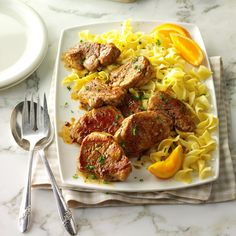 """This easy treatment for pork caught my eye when I saw the word """"caramelized."""" The slightly sweet glaze is yummy. I like to serve this over noodles or rice.or with mashed potatoes. Pork Tenderloin Recipes, Pork Recipes, Cooking Recipes, Healthy Recipes, Boneless Pork Loin Chops, Maine, Pork Ham, Pork Dishes, Casserole Recipes"""