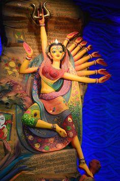 Durga puja celebrations in Kolkata, India. Photo by Asmita Upadhyay Lord Durga, Durga Maa, Shiva Shakti, Durga Goddess, Lord Shiva, Goddess Art, Durga Painting, Madhubani Painting, Save Water Drawing