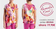 Camiseta Crochet ► http://www.puntroma.com/es/printed-t-shirt-with-back-crochet-44832.html?p=2